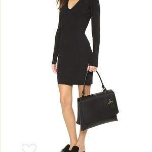 Black Leather DKNY Shoulder Bag Briefcase w/ Flap